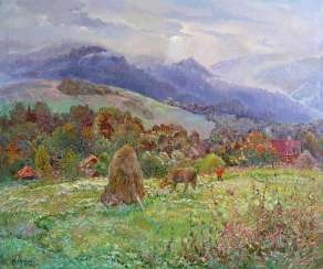 One day in Ukrainian Carpathian Mountains⠀ Painting by Aleksandr Dubrovskyy