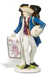 MAP SELLER FROM THE 'CRIS DE PARIS'. Meissen. In about 1750.