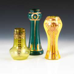 3 art Nouveau vases with gold painting.