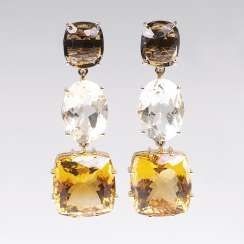 Color Fine Pair Of Smoky Quartz-Citrine-Earrings