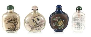 Four Snuffbottles, three inside-painted glass, made from Zisha-Ware