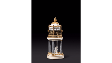 Pendulum with rotating ring in marble and gilt bronze two-tone gold