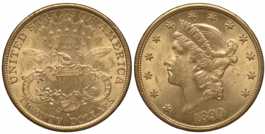 USA 20 DOLLARS 1899 S LIBERTY HEAD IN THE CROWN
