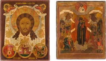 TWO ICONS: MANDYLION WITH THE ABGAR LEGEND AND THE MOTHER OF GOD 'JOY OF ALL THE SUFFERING'