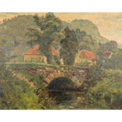"PAINTER OF THE 20th CENTURY, ""River section with stone bridge"""