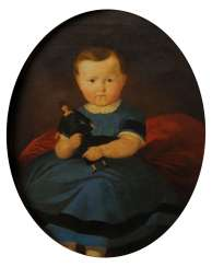 Depiction of a child in a golden frame.