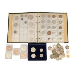 A mixed collection of coins and medals, with GOLD and SILVER -