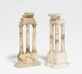 Two alabaster models of Roman temples