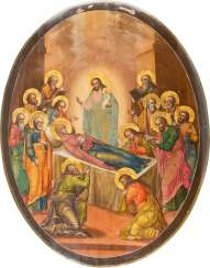 FINE ICON WITH THE DORMITION OF THE MOTHER OF GOD
