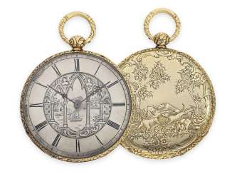 Pocket watch: extremely flat Lepine with rare Bagnolet caliber and extremely complex case and dial decoration, Andre Brunet Geneve No. 1671, approx. in 1850