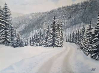 """The road in the winter forest"""