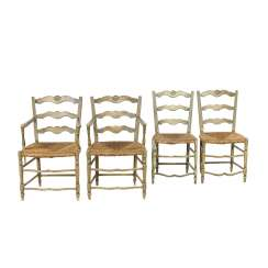SEQUENCE OF FOUR PROVINCIAL CHAIRS, France, 19th century. Century.,