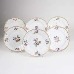 Set of 6 plates with Gotzkowsky-Relief-and-flower painting