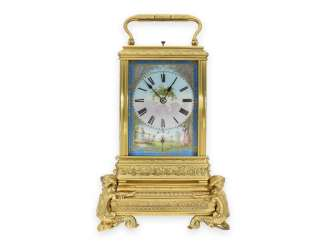 Timepiece: an exceptionally beautiful French carriage clock with 3 complications, enamel painting and a rare extra Base, signed DC No. 12241 , CA. 1880