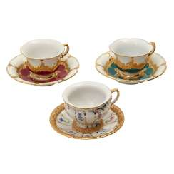 MEISSEN, 3 mocha cups with saucers B and X-shape', 20. Century