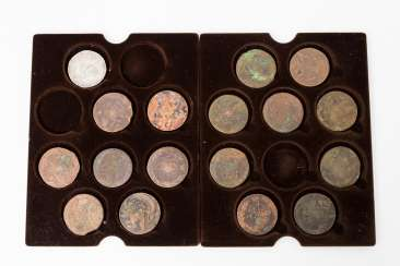 Collection of coins of the Russian Empire/Bronze, for example, 1 x Russia - 5 kopeks 1768/EM Catherine II., p., strong abrasion.