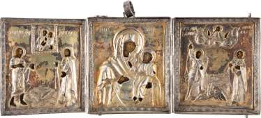 SMALL MINIATURE TRIPTYCH WITH VERMEIL-OKLAD