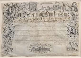 Baroque business apprenticeship certificate signed by the Leipziger