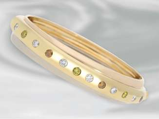 Bracelet/strap: hand-crafted, extremely solid and heavy two-tone gold forged bracelet with brilliant trim, 18K Gold
