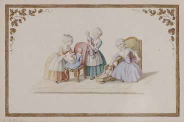Buttlar (Butlar), Augusta. Three girls with dolls