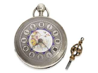 Pocket watch: attractive silver Spindeluhr with an unusual Repetition and fine enamel painting