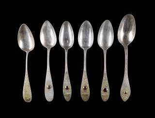 COLLECTION OF SIX BIEDERMEIER SPOONS DINING