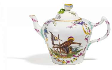 Teapot with monkey as a shoemaker