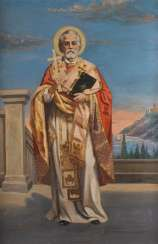 UNKNOWN SAINT PAINTER Active in the 2nd half of the 20th century. Saint Nicholas Oil on canvas