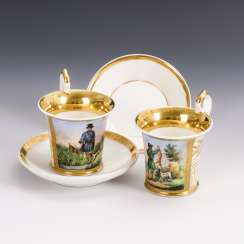 Pair of showcase cups with a hunting motif