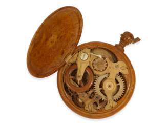 Pocket watch: extremely rare large Museum pocket watch is made of wood and bone, Mikhail Semyonovitch Bronnikov, Russia, CA. 1865