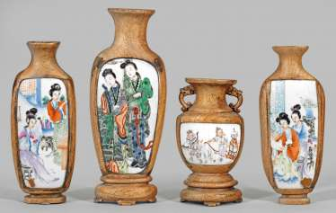 Four Chinese wall vases with figural scenes