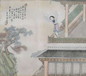 Chen Zhenji: Two paintings of women in architecture, landscape