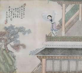 Chen Zhenji: Zwei Malereien von Damen in Architekturlandschaft