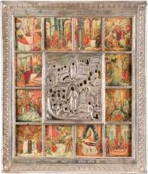VERY FINE ICON OF THE RESURRECTION AND DESCENT OF CHRIST INTO HELL, WITH TWELVE HIGH-STRENGTH, WITH SILVER RIZA