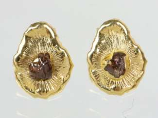 Rough Diamond Earrings - Yellow Gold 585