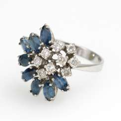 Noble Ring with sapphires and diamonds.