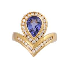 Ring with tanzanite drop of approx 2.5 ct and brilliant-cut diamonds