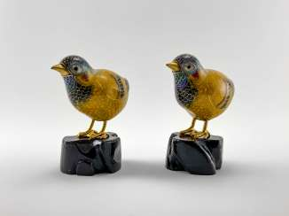 Paired statues of Chickens. China, enamel, handmade