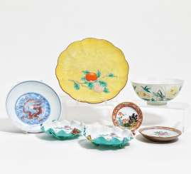 Large bowl with locusts, and six plates with dragons, flowers, and fruits