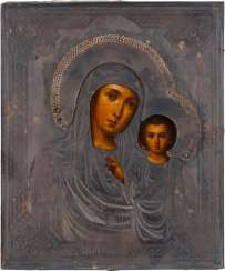 ICON WITH THE MOTHER OF GOD OF KAZAN (KASANSKAJA) WITH SILVER OKLAD Russia