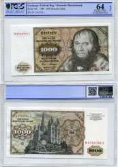 Germany 1000 MARKS 1980 2 JAN 1980, LUCAS Cranach (the ELDER), weaker PCGS 64 Choice UNC Pick 36b paper (UNC PRESS) 10-2-4