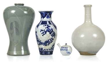 Three ceramic vases and a teapot