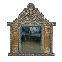 Mirror for hallway with brushes in a carved frame made of brass the first half of the twentieth century