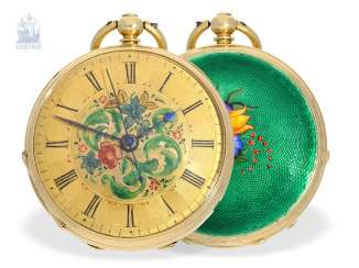 Pocket watch: very fine, very rare Gold/enamel ladies pocket watch with Central second, Clerc Fleurier for the Chinese market, around 1820/30