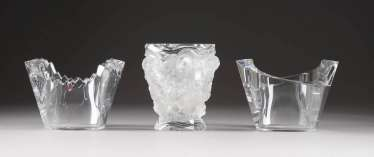 LOT OF THREE GLASS OBJECTS. Type: Sweden, Orrefors, among other things