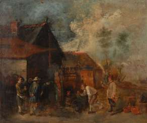 Genre painter 17./18. Century: peasants in the village of