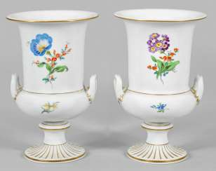 Pair of ornamental vases with floral decoration