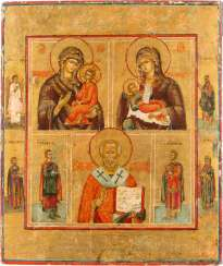 A SMALL ICON WITH GRACE, IMAGES OF THE MOTHER OF GOD AND THE SAINTS NICHOLAS OF MYRA, KOSMAS AND DAMIAN