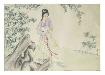 Japanese lady in landscape