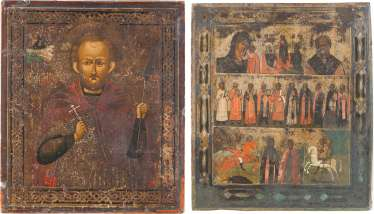TWO ICONS: THE MORE FIELDS ICON WITH SELECTED SAINTS, AND OF THE ICON WITH SAINT JOHN THE WARRIOR